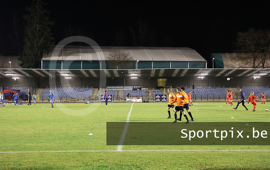 Referees warming up before a female soccer game between FC Femina White Star Woluwe and AA Gent Ladies on the 13 th matchday of the 2020 - 2021 season of Belgian Scooore Womens Super League , friday 5 th of February 2021  in Woluwe , Belgium . PHOTO SPORTPIX.BE | SPP | SEVIL OKTEM