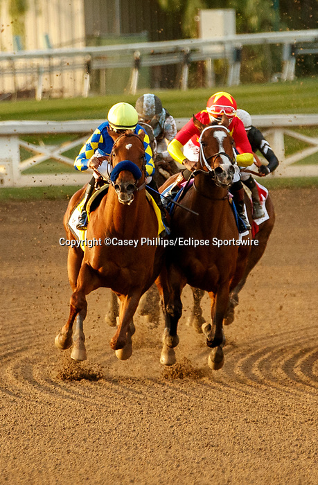 ARCADIA, CA DECEMBER 26: #4 Charlatan, ridden by Mike Smith,and #3 Nashville, ridden by Ricardo Santana, Jr., battle for the lead entering the stretch of the Runhappy Malibu Stakes (Grade l) on December 26, 2020 at Santa Anita Park in Arcadia, CA. (Photo by Casey Phillips/EclipseSportswire/CSM)