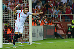 Sevilla's Iago Aspas celebs his goal during the match between Sevilla FC and Villarreal day 9 spanish  BBVA League 2014-2015 day 5, played at Sanchez Pizjuan stadium in Seville, Spain. (PHOTO: CARLOS BOUZA / BOUZA PRESS / ALTER PHOTOS)