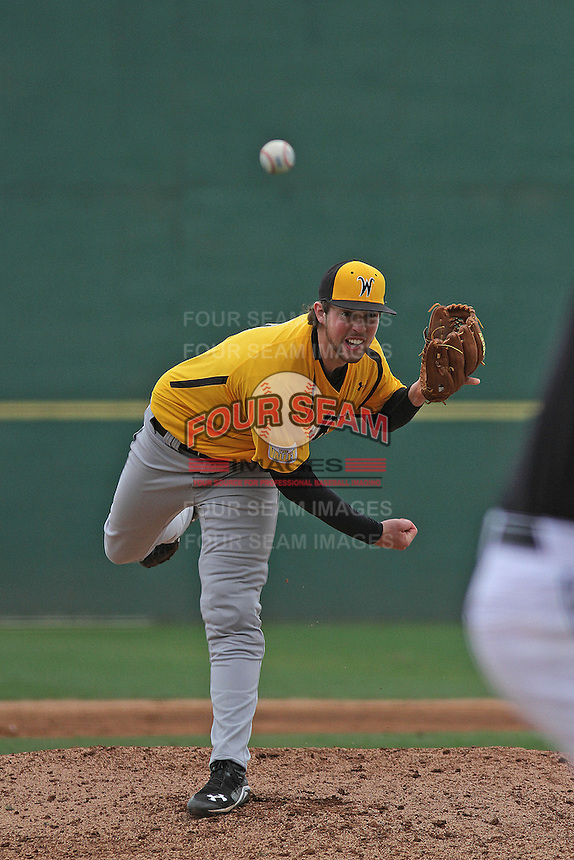 Wichita State Shockers pitcher Sam Tewes #3 on the mound during a game against the Coastal Carolina Chanticleers at Ticketreturn.com Field at Pelicans Ballpark on February 23, 2014 in Myrtle Beach, South Carolina. Wichita State defeated Coastal Carolina by the score of 5-2. (Robert Gurganus/Four Seam Images)