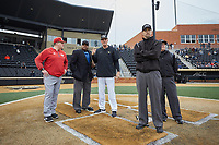 Wake Forest Demon Deacons head coach Tom Walter (16) goes over the ground rules prior to the game against the Sacred Heart Pioneers at David F. Couch Ballpark on February 15, 2019 in  Winston-Salem, North Carolina.  The Demon Deacons defeated the Pioneers 14-1.  (Brian Westerholt/Four Seam Images)