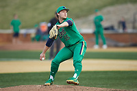 Notre Dame Fighting Irish relief pitcher Shane Combs (55) in action against the Wake Forest Demon Deacons at David F. Couch Ballpark on March 10, 2019 in  Winston-Salem, North Carolina. The Fighting Irish defeated the Demon Deacons 8-7 in 10 innings in game two of a double-header. (Brian Westerholt/Four Seam Images)