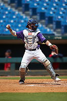 Catcher Satchell Norman (19) of Sarasota HS in Sarasota, FL playing for the Colorado Rockies scout team during the East Coast Pro Showcase at the Hoover Met Complex on August 4, 2020 in Hoover, AL. (Brian Westerholt/Four Seam Images)