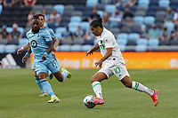 SAINT PAUL, MN - MAY 1: Cecilio Dominguez #10 of Austin FC moves the ball forward during a game between Austin FC and Minnesota United FC at Allianz Field on May 1, 2021 in Saint Paul, Minnesota.