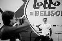 Milan-San Remo preparations..André Greipel posing for Selle San Marco (the team sponsor).
