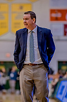19 January 2019: Binghamton University Bearcat Head Coach Tommy Dempsey watches second half Men's Basketball action against the University of Vermont Catamounts at Patrick Gymnasium in Burlington, Vermont. The Bearcats fell to the Catamounts 78-50 in America East conference play. Mandatory Credit: Ed Wolfstein Photo *** RAW (NEF) Image File Available ***