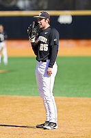 Wake Forest Demon Deacons first baseman Matt Conway (25) on defense against the Youngstown State Penguins at Wake Forest Baseball Park on February 24, 2013 in Winston-Salem, North Carolina.  The Demon Deacons defeated the Penguins 6-5.  (Brian Westerholt/Four Seam Images)