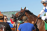 August 2, 2015. Heart to Heart, ridden by Victor Espinoza, wins the Grade III Oceanport Stakes, one and 1/16 miles on the turf for three year olds and upward at Monmouth Park in Oceanport, NJ.  Brian Lynch is trainer; Terry Hamilton is owner.  Joan Fairman Kanes/ESW/CSM