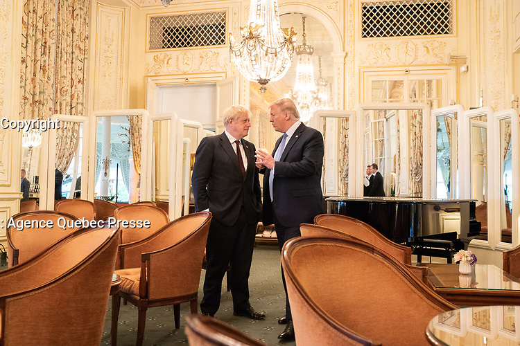 President Donald J. Trump and British Prime Minister Boris Johnson continue to talk at the conclusion of their working breakfast meeting Sunday, Aug. 25, 2019, at Hotel du Palais Biarritz in Biarritz, France, site of the G7 Summit. (Official White House Photo by Shealah Craighead)