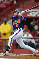 Third Baseman Richie Shaffer #8 of the Clemson Tigers swings at a pitch during a game against the South Carolina Gamecocks at Carolina Stadium on March 3, 2012 in Columbia, South Carolina. The Gamecocks defeated the Tigers 9-6. Tony Farlow/Four Seam Images