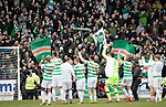 St Johnstone v Celtic…04.11.17…  McDiarmid Park…  SPFL<br />The Celtic players celebrate a record 64 games undefeated with their fans at full time<br />Picture by Graeme Hart. <br />Copyright Perthshire Picture Agency<br />Tel: 01738 623350  Mobile: 07990 594431
