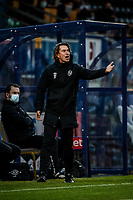 21st November 2020; Adams Park Stadium, Wycombe, Buckinghamshire, England; English Football League Championship Football, Wycombe Wanderers versus Brentford; Brentford manager Thomas Frank sends in instructions