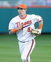 Right fielder Steven Duggar (9) of the Clemson Tigers hits during a game against the William & Mary Tribe on Opening Day, Friday, February 15, 2013, at Doug Kingsmore Stadium in Clemson, South Carolina. Clemson won, 2-0. (Tom Priddy/Four Seam Images)