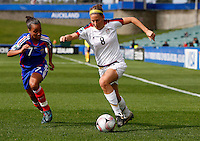 Vicki Dimartino (USA) keeps the ball from Ines Jaurena (FRA)..FIFA U17 Women's World Cup, USA v France, Albany Stadium, Auckland, New Zealand, Wednesday 5 November 2008. Photo: Renee McKay/PHOTOSPORT