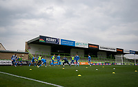 Barrow warm up pre match  during the Sky Bet League 2 match between Forest Green Rovers and Barrow at The New Lawn, Nailsworth on Tuesday 27th April 2021. (Credit: Prime Media Images I MI News)