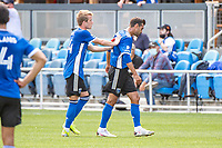 SAN JOSE, CA - APRIL 24: Jackson Yueill #14 of the San Jose Earthquakes consoles Chris Wondolowski #8 of the San Jose Earthquakes after his red card during a game between FC Dallas and San Jose Earthquakes at PayPal Park on April 24, 2021 in San Jose, California.