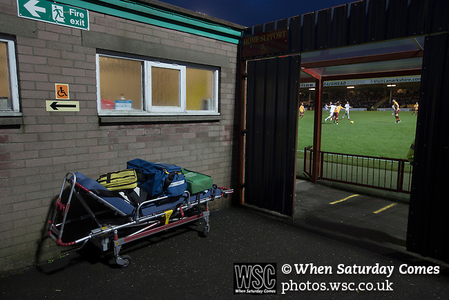 Motherwell 3 Dundee 1, 12/12/2015. Fir Park, Scottish Premiership. A first aid stretcher positioned near the pitch as Motherwell play Dundee in a Scottish Premiership fixture at Fir Park. Formed in 1886, the  home side has played at Fir Park since 1895. Motherwell won the match by three goals to one, watched by a crowd of 3512 spectators. Photo by Colin McPherson.