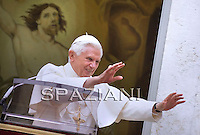 Pope Benedict XVI leads his Angelus prayer at his summer residence in Castelgandolfo, south of Rome, 18 July 2010.
