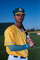 AZL Athletics Gold Elvis Peralta (3) poses for a photo before an Arizona League game against the AZL Rangers on July 15, 2019 at Hohokam Stadium in Mesa, Arizona. The AZL Athletics Gold defeated the AZL Rangers 9-8 in 11 innings. (Zachary Lucy/Four Seam Images)