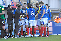 Portsmouth Manager Danny Cowley  issues instructions during a drinks break during Portsmouth vs Rochdale, Sky Bet EFL League 1 Football at Fratton Park on 2nd April 2021