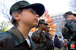 WINSTED CT. 11 November 2013-111113SV07-Jordyn Ganavage, 8, of Watertown stands and listens with The Brass City Young Marines during the annual Veterans Day ceremonies on the green in Waterbury Monday. The Waterbury Veterans Memorial Committee hosted the event. <br /> Steven Valenti Republican-American