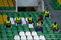 ARMENIA - COLOMBIA, 02-10-2020: Protocolos de bioseguridad durante partido entre Cúcuta Deportivo y el Independiente Santa Fe por la fecha 11 de la Liga BetPlay DIMAYOR I 2020 jugado en el estadio estadio Centenario de la ciudad de Armenia. / Biosafety protocols during a match between Cucuta Deportivo and Independiente Santa Fe for the date 11 BetPlay DIMAYOR League I 2020 played at Centenario stadium in Armenia city. Photo: VizzorImage / Ricardo vejarano / Cont