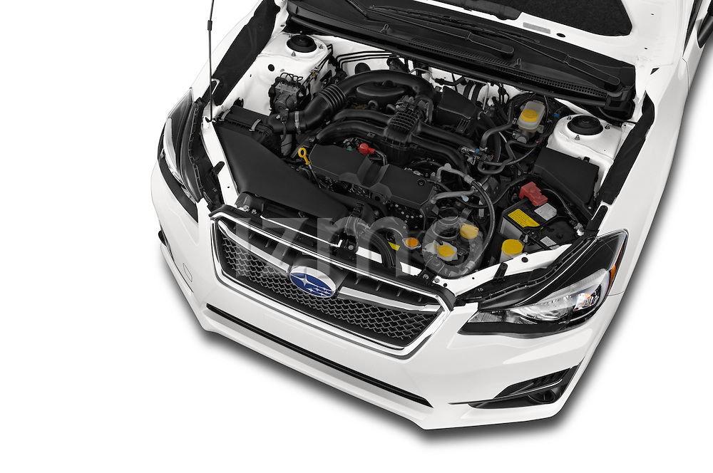 Car Stock 2015 Subaru Impreza 2.0I Auto 4 Door Hatchback Engine high angle detail view