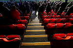 Grimsby Town 1 Lincoln City 3, 28/12/2014. Blundell Park, Football Conference. Red seats and yellow steps in the Main Stand highlighted by low winter sunlight.  Photo by Paul Thompson.