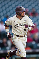Texas A&M Aggies outfielder Nick Banks (4) runs to first base during Houston College Classic against the Nebraska Cornhuskers on March 6, 2015 at Minute Maid Park in Houston, Texas. Texas A&M defeated Nebraska 2-1. (Andrew Woolley/Four Seam Images)