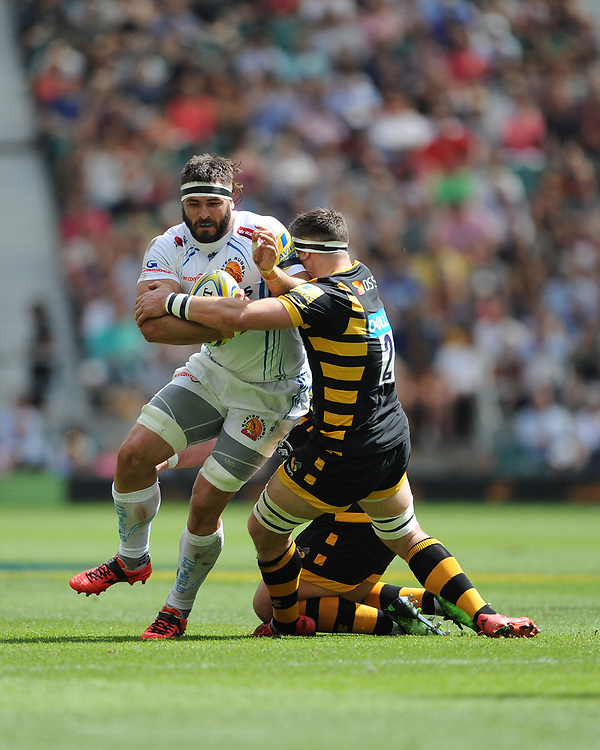 Don Armand of Exeter Chiefs is tackled by Tommy Taylor of Wasps during the Premiership Rugby Final at Twickenham Stadium on Saturday 27th May 2017 (Photo by Rob Munro)