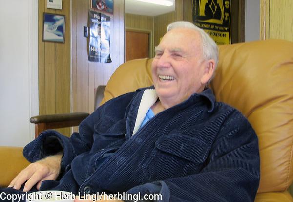 Pilot Duane Wilkens at the morning pilots meeting, Petaluma Municipal Airport, Petaluma, Sonoma County, California.