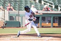 Salt River Rafters right fielder Jaylin Davis (30), of the Minnesota Twins organization, swings at a pitch during an Arizona Fall League game against the Surprise Saguaros at Salt River Fields at Talking Stick on November 5, 2018 in Scottsdale, Arizona. Salt River defeated Surprise 4-3 . (Zachary Lucy/Four Seam Images)