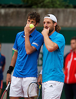 France, Paris, 28.05.2014. Tennis, French Open, Roland Garros, Robin Haase (NED) with his doubles partner Andre Begemann (GER) (R)<br /> Photo:Tennisimages/Henk Koster