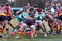 Match action during the Greene King IPA Championship match between Ealing Trailfinders and Ampthill RUFC being played behind closed doors due to the COVID-19 pandemic restrictions at Castle Bar , West Ealing , England  on 13 March 2021. Photo by David Horn.