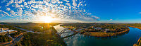 This aerial panorama view of the 360 Pennybacker Bridge panorama offers a peaceful beautiful sunrise. This is my favorite iconic Austin location to photograph and Austin's most famous photographed landmark in Austin, Texas.