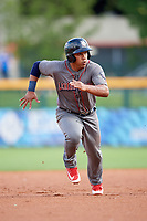 Lehigh Valley IronPigs second baseman Heiker Meneses (3) runs the bases during a game against the Buffalo Bisons on June 23, 2018 at Coca-Cola Field in Buffalo, New York.  Lehigh Valley defeated Buffalo 4-1.  (Mike Janes/Four Seam Images)