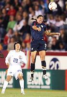 Shannon Boxx (7) of USA wins a header against Kim Sooyun (28) of South Korea during an international friendly match at City Stadium on November 1, 2008 in Richmond, Virginia. USA won 3-1.