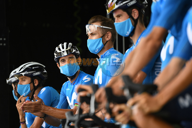 Alejandro Valverde (ESP) and Movistar Team at sign on before the start of Stage 9 of Tour de France 2020, running 153km from Pau to Laruns, France. 6th September 2020. <br /> Picture: ASO/Alex Broadway | Cyclefile<br /> All photos usage must carry mandatory copyright credit (© Cyclefile | ASO/Alex Broadway)