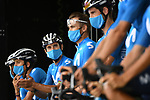 Alejandro Valverde (ESP) and Movistar Team at sign on before the start of Stage 9 of Tour de France 2020, running 153km from Pau to Laruns, France. 6th September 2020. <br /> Picture: ASO/Alex Broadway   Cyclefile<br /> All photos usage must carry mandatory copyright credit (© Cyclefile   ASO/Alex Broadway)