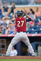 Rob Refsnyder (27) at bat against the Durham Bulls at Durham Bulls Athletic Park on May 15, 2015 in Durham, North Carolina.  The RailRiders defeated the Bulls 8-4 in 11 innings.  (Brian Westerholt/Four Seam Images)