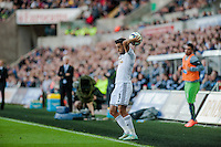 Saturday 4th  October 2014 Pictured: Neil Taylor of Swansea City takes a throw in <br /> Re: Barclays Premier League Swansea City v Newcastle United at the Liberty Stadium, Swansea, Wales,UK