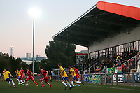 General view of the action during Woodford Town vs London Colney, Emirates FA Cup Football at The Harlow Arena on 31st August 2020