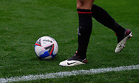 A close up of a Mitre Delta Max official EFL match football<br /> <br /> Photographer Chris Vaughan/CameraSport<br /> <br /> The EFL Sky Bet League One - Fleetwood Town v Lincoln City - Saturday 17th October 2020 - Highbury Stadium - Fleetwood<br /> <br /> World Copyright © 2020 CameraSport. All rights reserved. 43 Linden Ave. Countesthorpe. Leicester. England. LE8 5PG - Tel: +44 (0) 116 277 4147 - admin@camerasport.com - www.camerasport.com