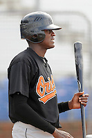 August 1, 2009: Outfielder Luis Ramirez (11) of the Bluefield Orioles, rookie Appalachian League affiliate of the Baltimore Orioles in a game at Howard Johnson Field in Johnson City, Tenn. Photo by: Tom Priddy/Four Seam Images