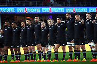 The All Blacks line up before the Bledisloe Cup rugby match between the New Zealand All Blacks and Australia Wallabies at Eden Park in Auckland, New Zealand on Saturday, 7 August 2021. Photo: Dave Lintott / lintottphoto.co.nz