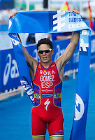 29 JUN 2014 - CHICAGO, USA - Javier Gomez (ESP) of Spain celebrates winning the men's ITU 2014 World Triathlon Series round in Grant Park, Chicago in the USA (PHOTO COPYRIGHT © 2014 NIGEL FARROW, ALL RIGHTS RESERVED)