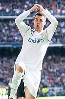 Real Madrid Cristiano Ronaldo celebrating a goal during La Liga match between Real Madrid and Atletico de Madrid at Santiago Bernabeu Stadium in Madrid, Spain. April 08, 2018.  *** Local Caption *** © pixathlon<br /> Contact: +49-40-22 63 02 60 , info@pixathlon.de