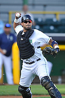 Clinton LumbeKings Arturo Nieto (23) throws to first base during the Midwest League game against the Beloit Snappers at Ashford University Field on June 11, 2016 in Clinton, Iowa.  The LumberKings won 7-6.  (Dennis Hubbard/Four Seam Images)