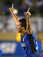 Rodrigo Faria (Earthquakes) celebrates after scoring a winning goal in overtime.  Earthquakes defeated Galaxy, 5-2 in overtime at Spartan Stadium on November 9th, 2003.
