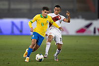 13th October 2020; National Stadium of Peru, Lima, Peru; FIFA World Cup 2022 qualifying; Peru versus Brazil;  Yoshimar Yotún of Perubeaten by the run from Philippe Coutinho of Brazil
